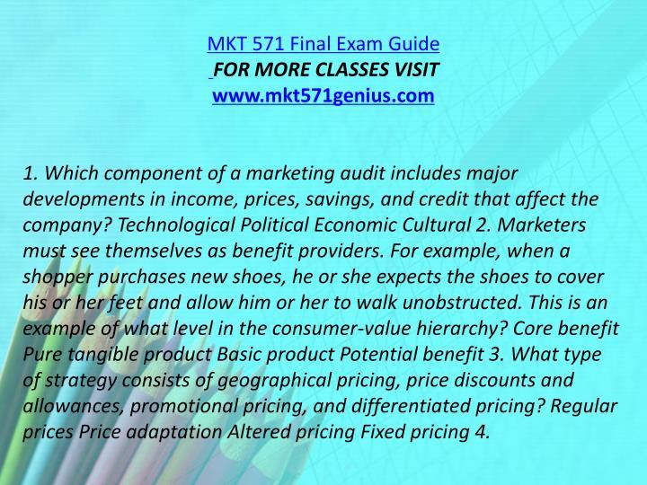 MKT 571 Final Exam Guide