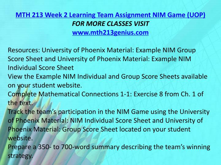 MTH 213 Week 2 Learning Team Assignment NIM Game (UOP)