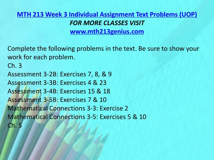 MTH 213 Week 3 Individual Assignment Text Problems (UOP)