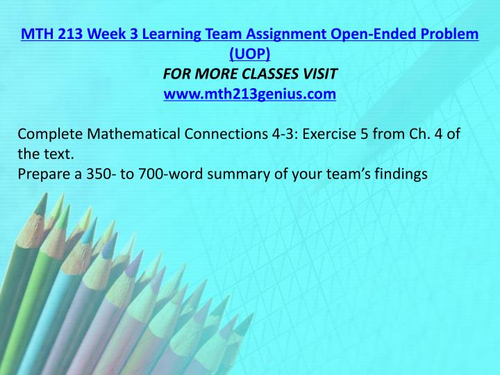 MTH 213 Week 3 Learning Team Assignment Open-Ended Problem (UOP)