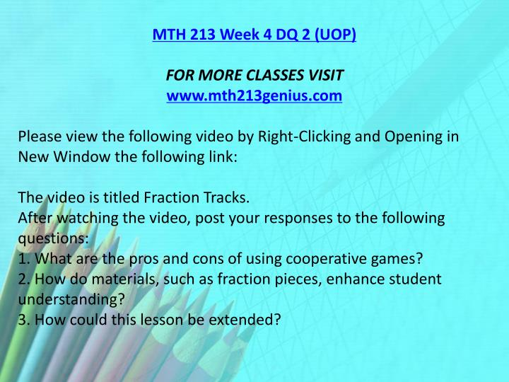 MTH 213 Week 4 DQ 2 (UOP)