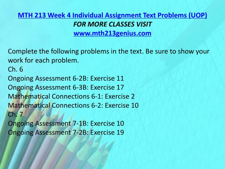 MTH 213 Week 4 Individual Assignment Text Problems (UOP)