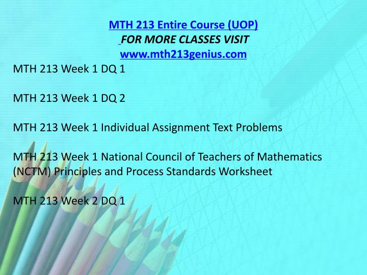 MTH 213 Entire Course (UOP)