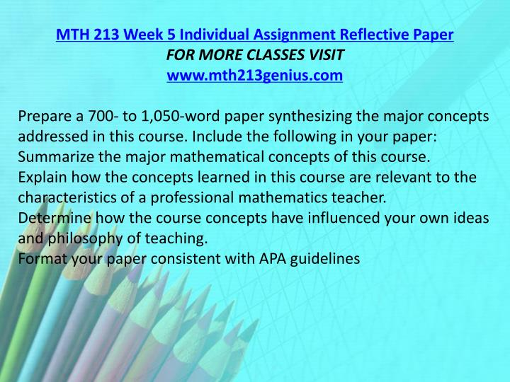 MTH 213 Week 5 Individual Assignment Reflective Paper
