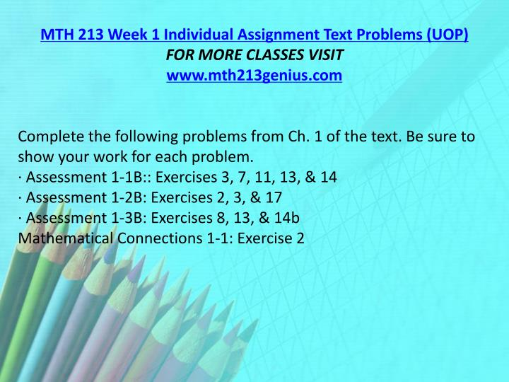 MTH 213 Week 1 Individual Assignment Text Problems (UOP)