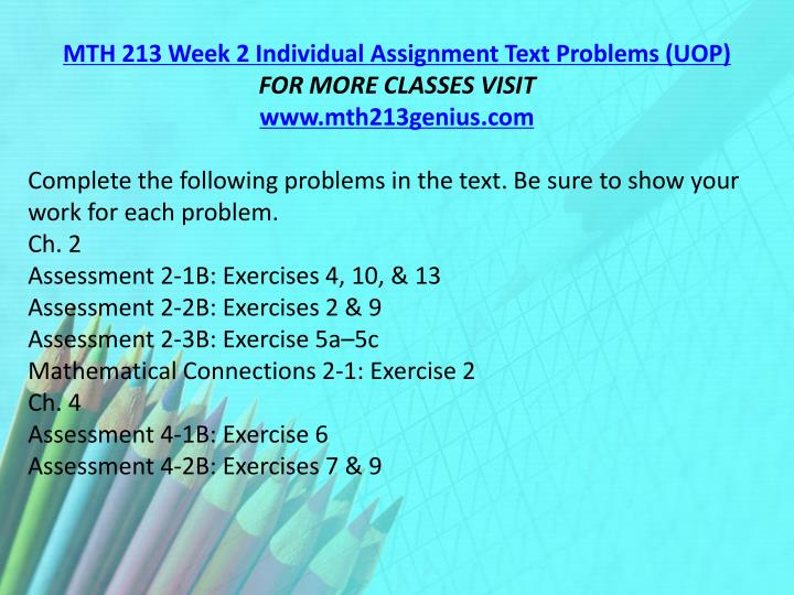 MTH 213 Week 2 Individual Assignment Text Problems (UOP)