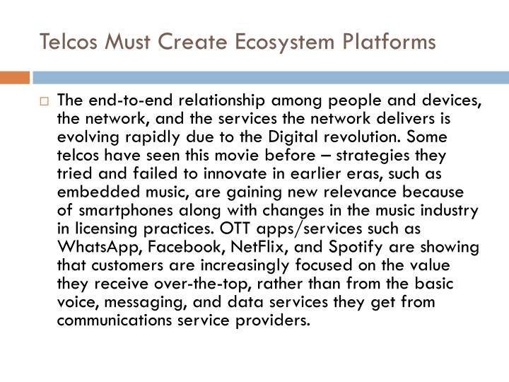 Telcos must create ecosystem platforms