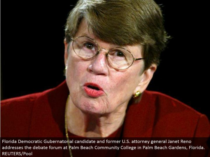 Florida Democratic Gubernatorial applicant and previous U.S. lawyer general Janet Reno addresses the verbal confrontation gathering at Palm Beach Community College in Palm Beach Gardens, Florida. REUTERS/Pool