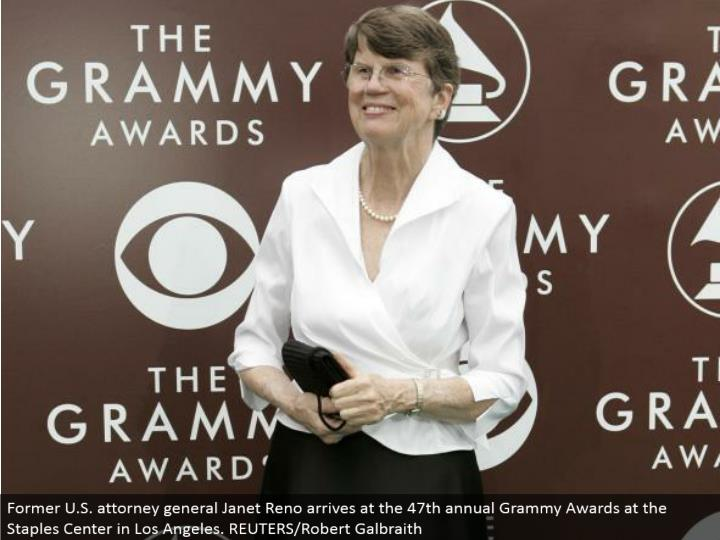 Former U.S. lawyer general Janet Reno lands at the 47th yearly Grammy Awards at the Staples Center in Los Angeles. REUTERS/Robert Galbraith