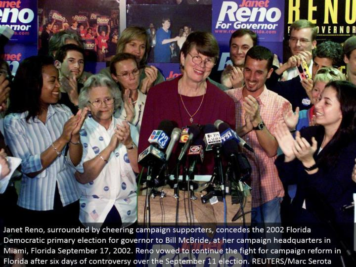Janet Reno, encompassed by cheering effort supporters, surrenders the 2002 Florida Democratic essential decision for representative to Bill McBride, at her crusade central station in Miami, Florida September 17, 2002. Reno pledged to proceed with the battle for crusade change in Florida following six days of contention over the September 11 decision. REUTERS/Marc Serota