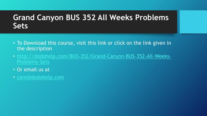 Grand canyon bus 352 all weeks problems sets1