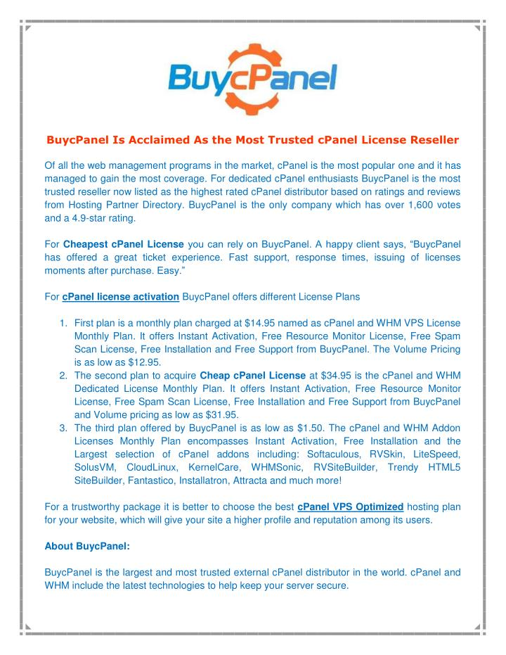 BuycPanel Is Acclaimed As the Most Trusted cPanel License Reseller