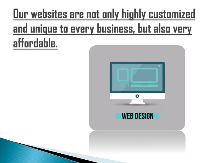 Our websites are not only highly customized and unique to every business, but also very affordable.