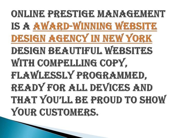 Online Prestige Management is a