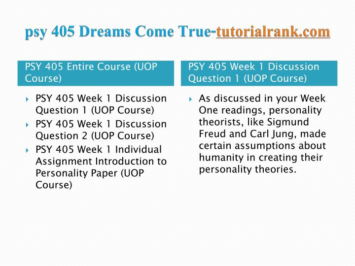 Psy 405 dreams come true tutorialrank com1