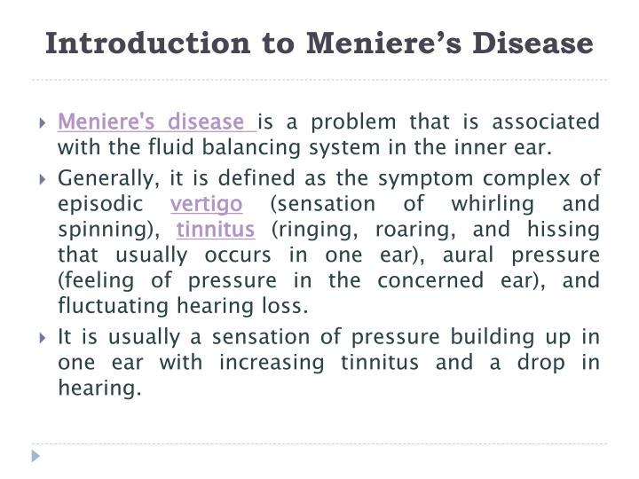 Introduction to meniere s disease