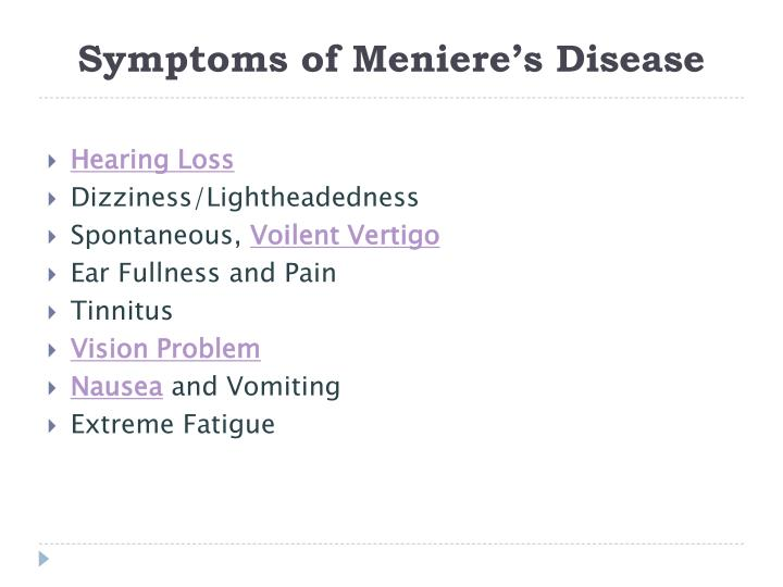 Symptoms of Meniere's Disease