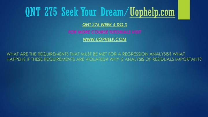 QNT 275 Seek Your Dream/