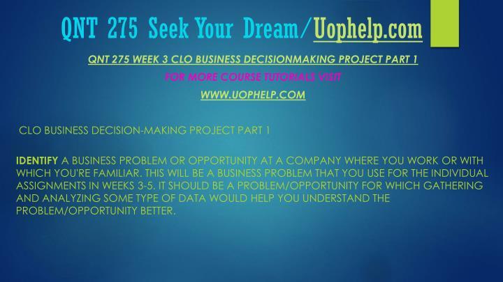 QNT 275 Seek Your Dream/