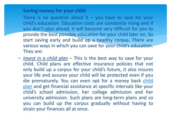 Saving money for your child