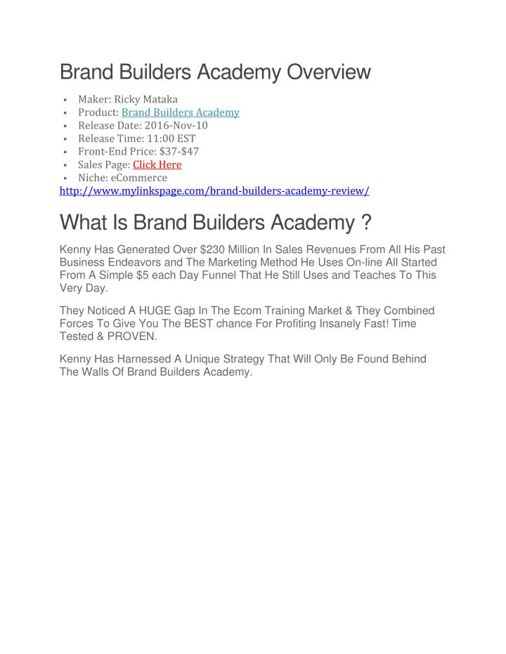 Brand Builders Academy Overview