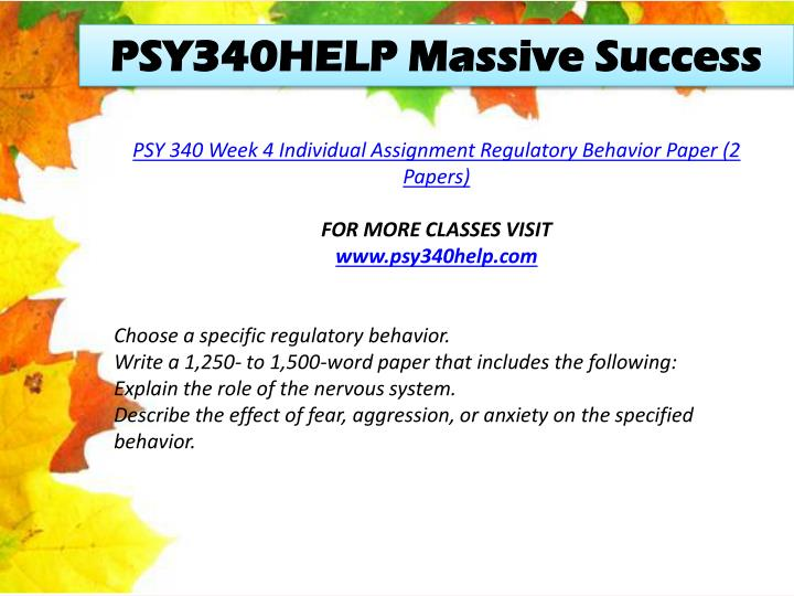 PSY340HELP Massive Success