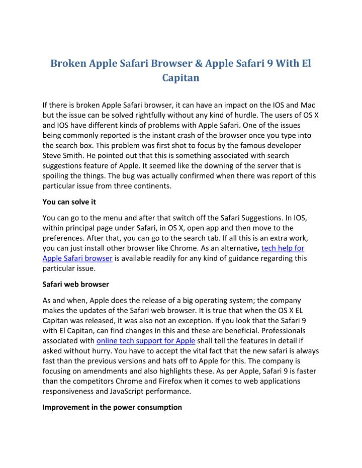 Broken Apple Safari Browser & Apple Safari 9 With El