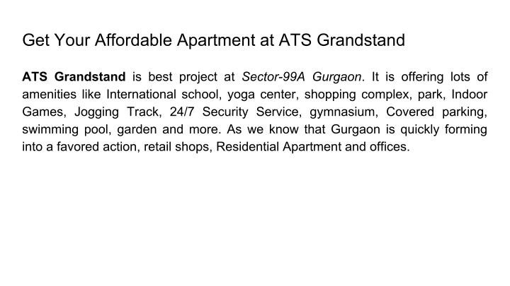 Get Your Affordable Apartment at ATS Grandstand