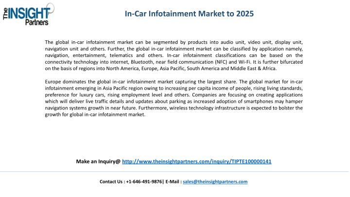 In-Car Infotainment Market to 2025