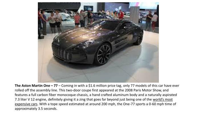 The Aston Martin One