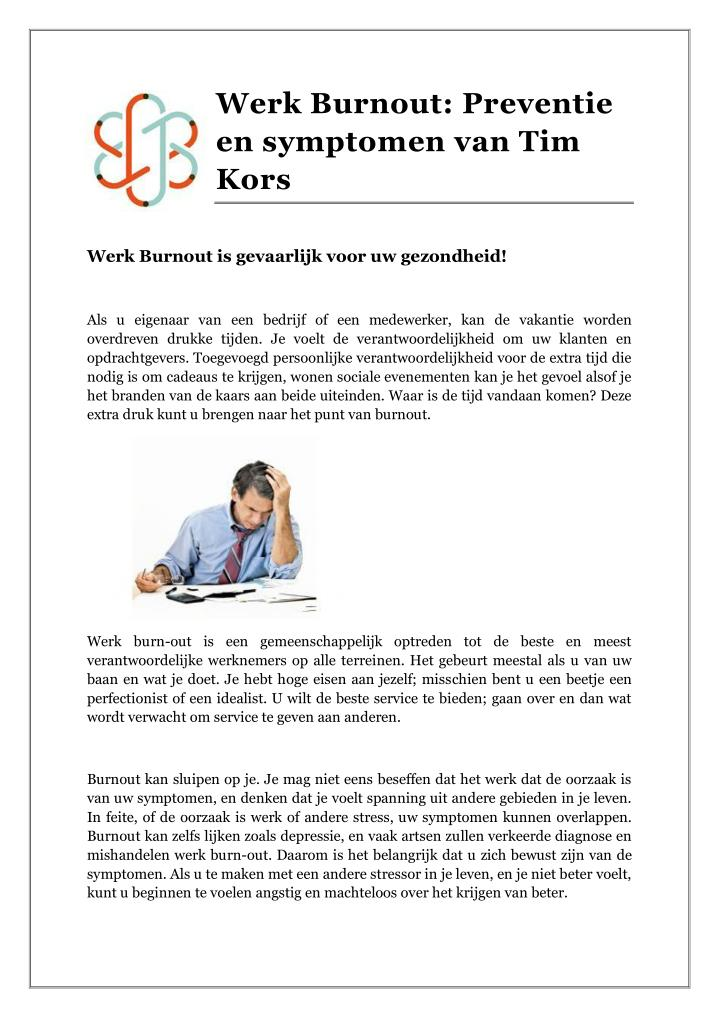 Werk Burnout: Preventie