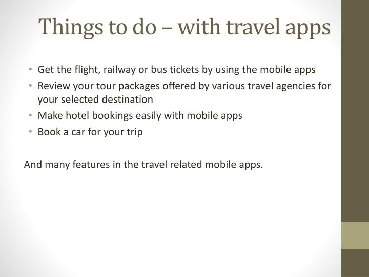Things to do – with travel apps