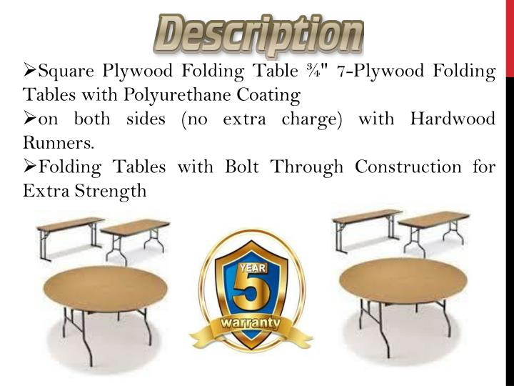 "Square Plywood Folding Table ¾"" 7-Plywood Folding Tables with Polyurethane Coating"