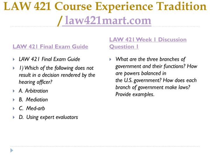 Law 421 course experience tradition law421mart com1