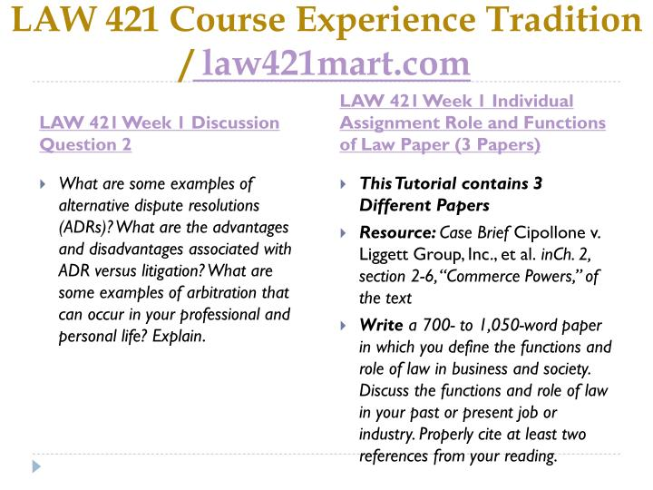 Law 421 course experience tradition law421mart com2