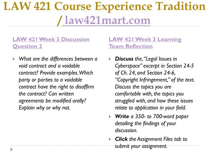 LAW 421 Course Experience Tradition /