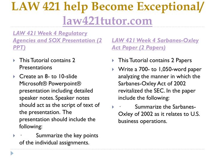 LAW 421 help Become Exceptional/