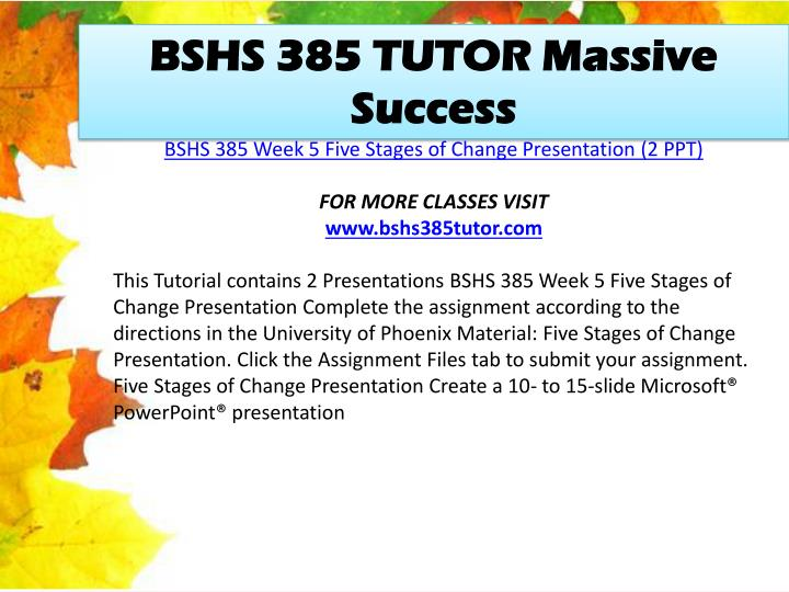 BSHS 385 TUTOR Massive Success
