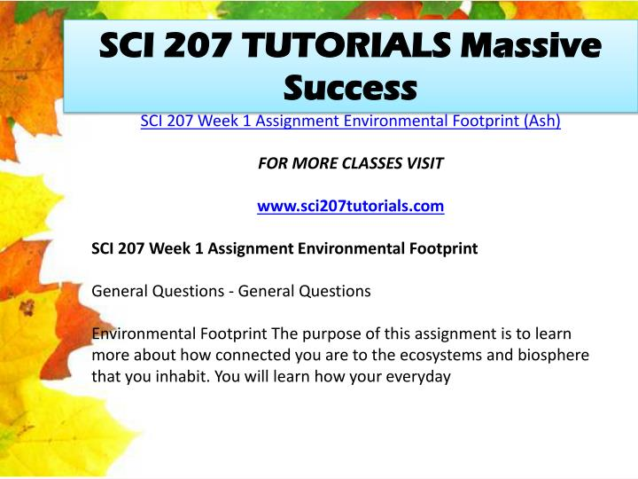 SCI 207 TUTORIALS Massive Success