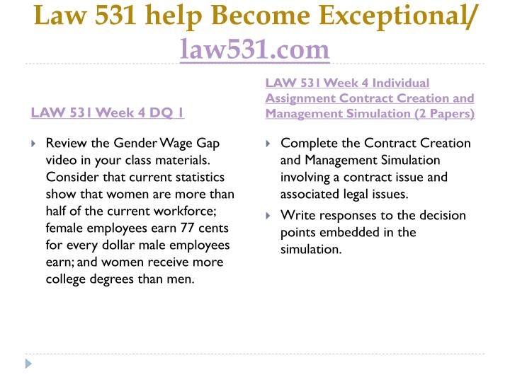 Law 531 help Become Exceptional/