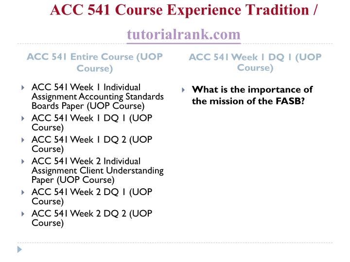 Acc 541 course experience tradition tutorialrank com1