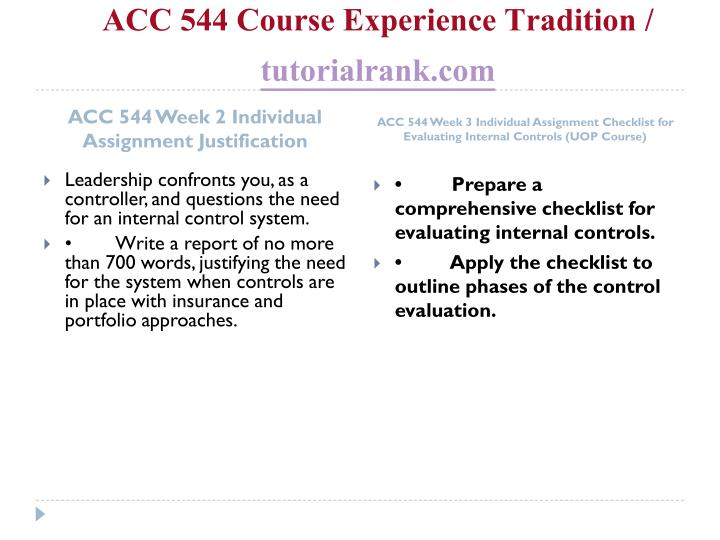Acc 544 course experience tradition tutorialrank com2