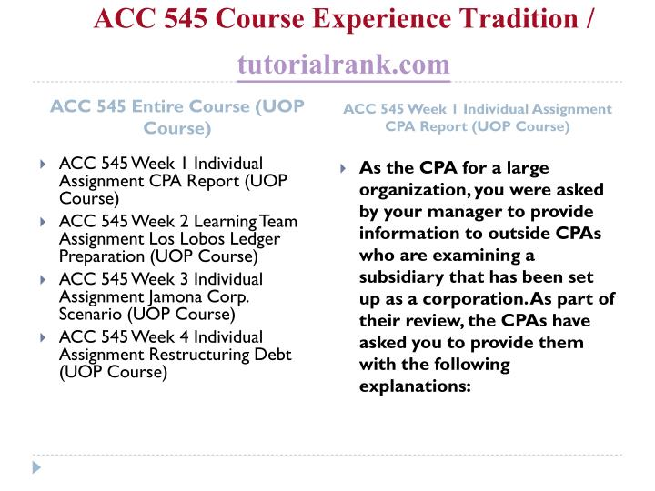Acc 545 course experience tradition tutorialrank com1