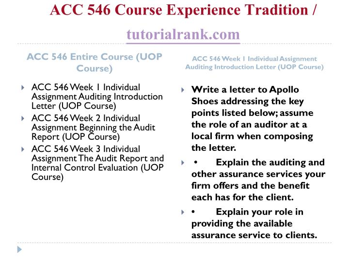 Acc 546 course experience tradition tutorialrank com1