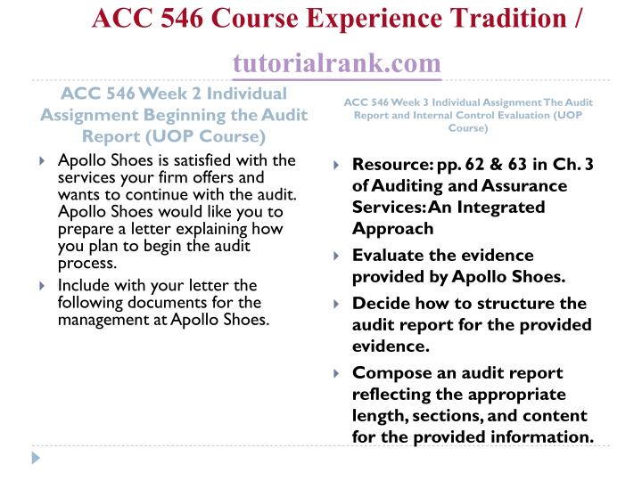 Acc 546 course experience tradition tutorialrank com2