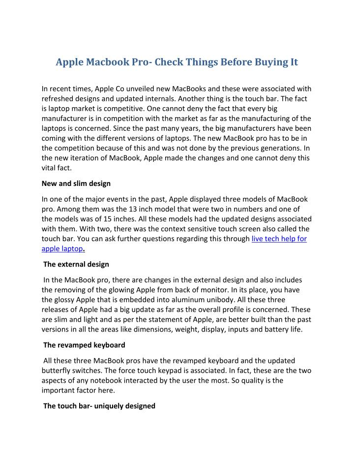 Apple Macbook Pro- Check Things Before Buying It