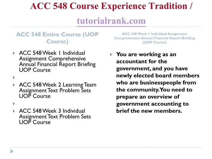 Acc 548 course experience tradition tutorialrank com1
