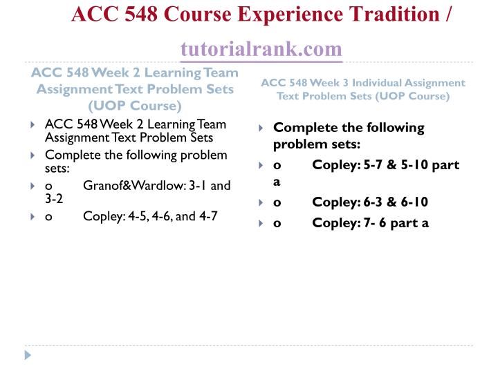 Acc 548 course experience tradition tutorialrank com2