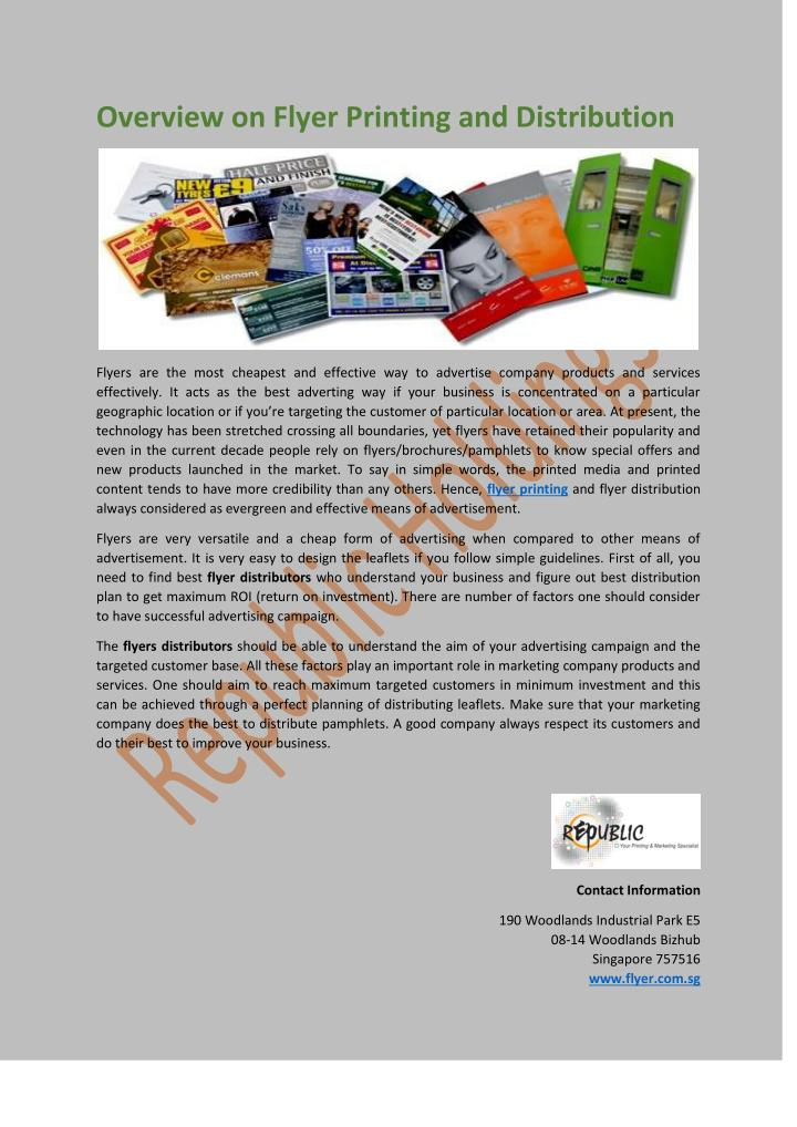 Overview on Flyer Printing and Distribution