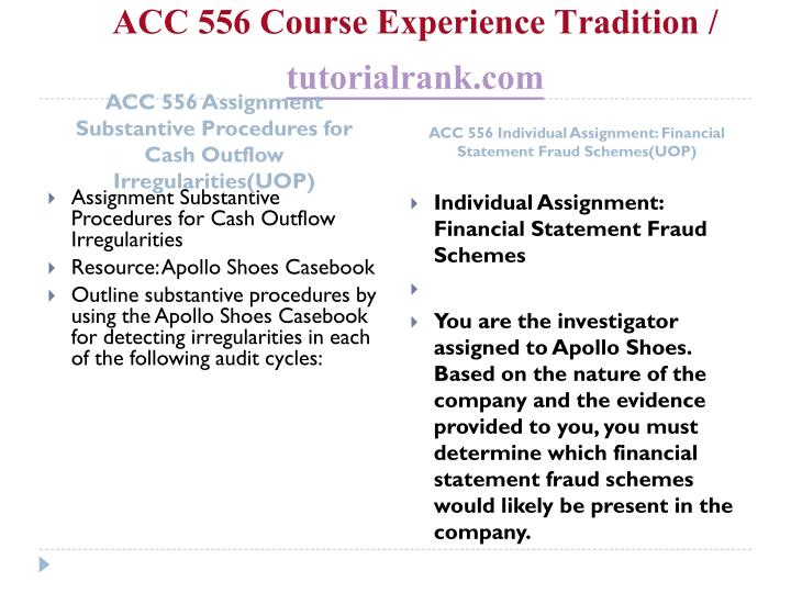 Acc 556 course experience tradition tutorialrank com1